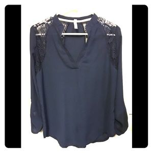 Xhiliration l Navy Blouse with Lace
